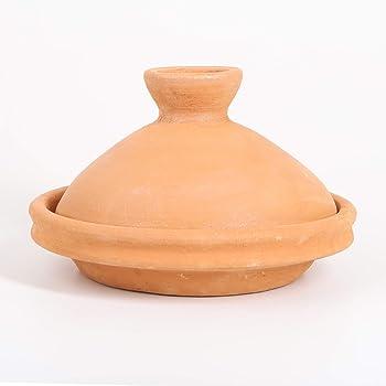 Casa Moro Marokkanische Tajine Terra Natur Ø 30 cm unglasiert | Natur-Tontopf zum Kochen für 3 bis 4 Personen | handgetöpfert aus Marrakesch | TA7105