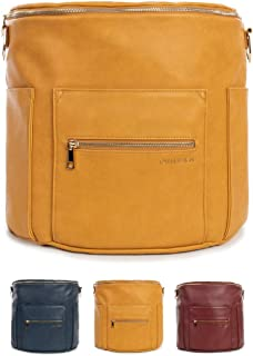 Fawn Design Original Diaper Bag Designed for Women - Backpack For Baby Essentials, Diapers, And Everyday Use - Premium Faux Leather, Interior/Exterior Pockets, Interchangeable Straps - Honey 2019 Ed.