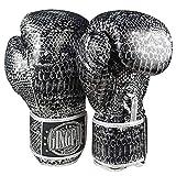 GINGPAI Boxing Guantes para hombre y mujer, Dendroaspis Polylepis - Guantes de piel sintética para saco de boxeo (Negro-Plata, 10 onzas)