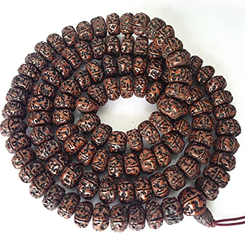 JONJUMP Mala Nepal tibetano budista 108 grandes engrasados Rudraksha Bodhi Beads Mala 16-18mm para hombre