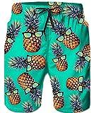 Loveternal Mens Hawaiian Tropical Pineapple Beach Shorts Male...