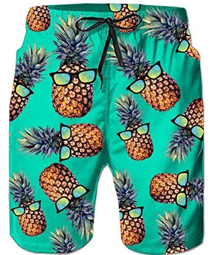 Loveternal Mens Hawaiian Tropical Pineapple Beach Shorts Male Funny Plus Size Swimming Trunks Elastic Waist Green Bathing Suit Surf Swim Shorts Bright Colored Summer Boardshorts Blue XL