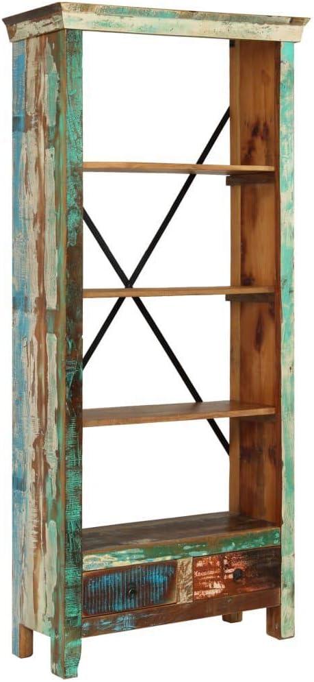 vidaXL Bookcase Living Room Book Display Cabinet Standing Shelf Highboard Furniture Solid Reclaimed Wood 31.5