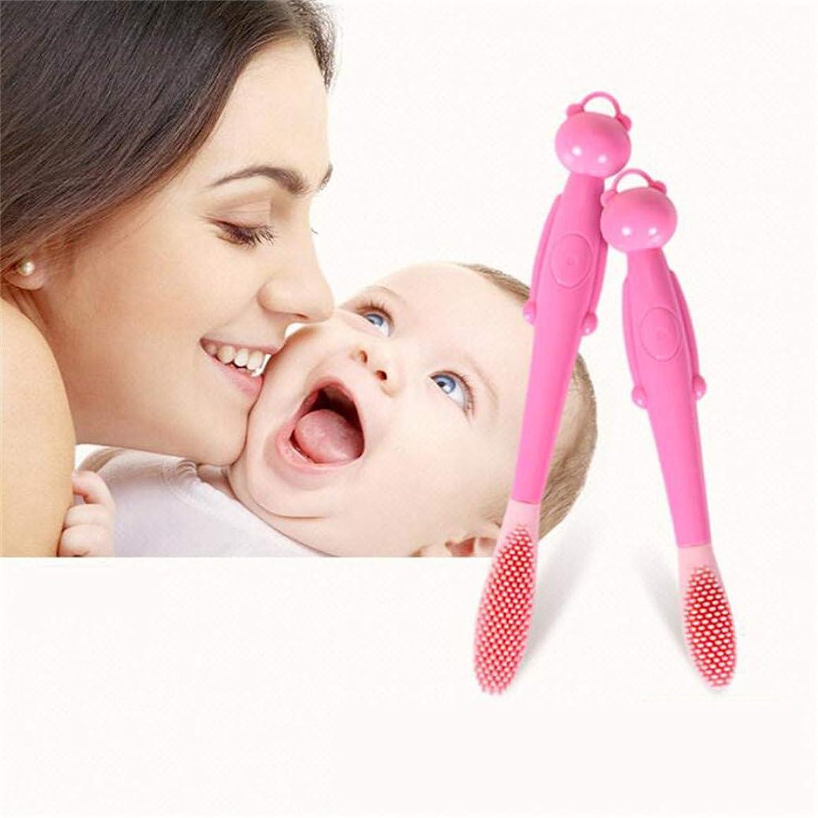 名声戸棚安息JIOLK ベビー幼児シリコーンソフト歯ブラシ ベビー歯ブラシ 0-1-2-3歳 子供用ミルク歯ブラシ