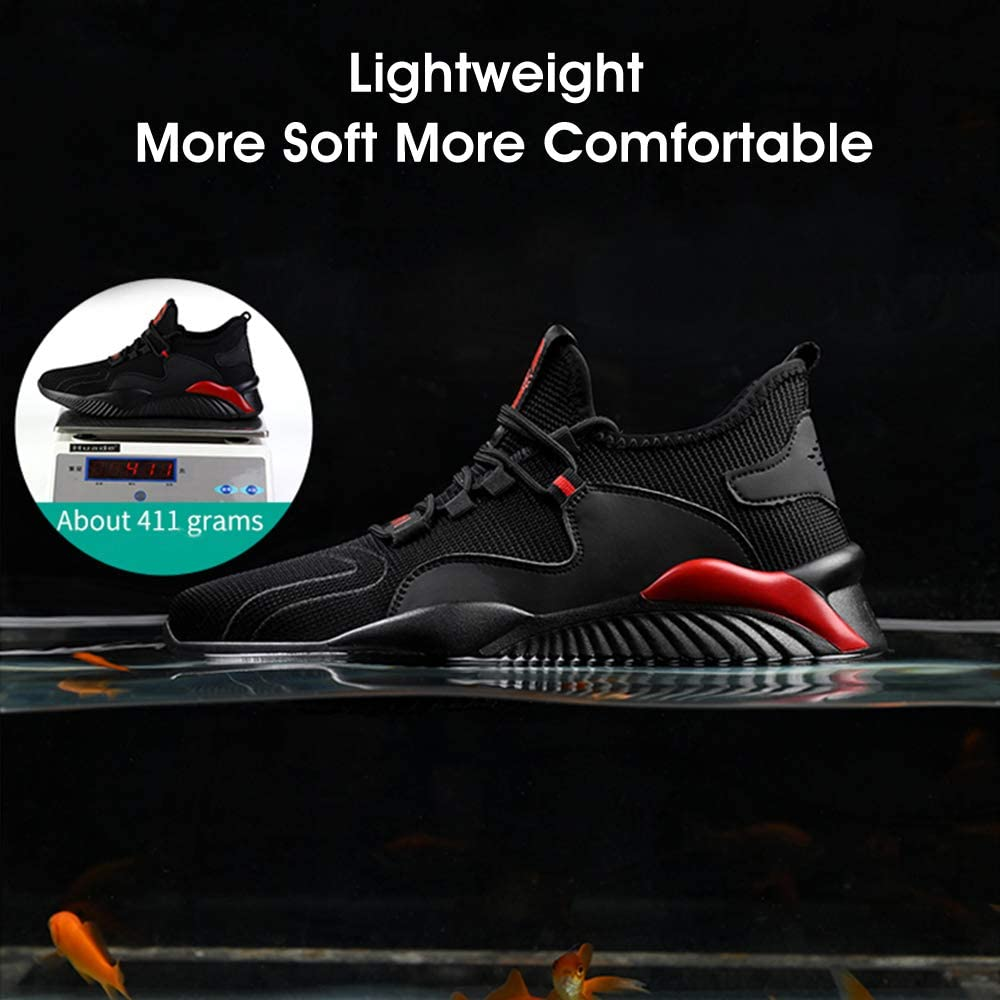HISQIM Safety Shoes Men Women Lightweight Safety Trainers for Men Breathable Steel Toe Cap Trainers
