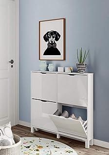 LIQUIDATODO ® - Zapatero 97 cm moderna y barata en blanco alto brillo