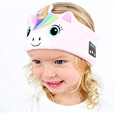 CozyPhones Over The Ear Headband Headphones - Kids Wireless Headphones Volume Limited with Thin Speakers & Super Soft Fleece Headband - Pink Unicorn