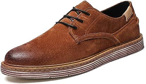 SCSY-Chaussures Oxford Tenue de Ville Classique pour Hommes d'affaires Oxford Décontracté Retro Brush chaussures (Couleur   Marron, Taille   40 EU)