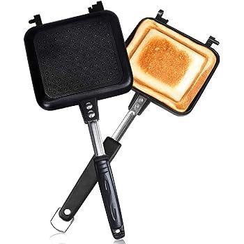 ホットサンドメーカー 直火・ih対応 Vsadey フチが圧着 上下分離型 耳まで焼ける 具だくさん対応 フッ素樹脂加工 お手入れ簡単 丸洗い 焦げ付きにくい 軽量 アウトドア 家庭用 (上下分離型)