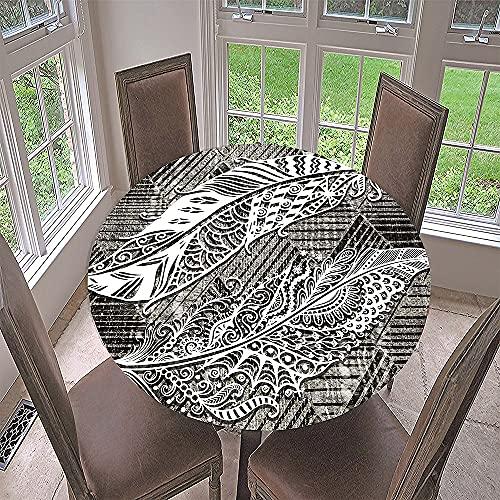 Impermeable Redondo Mantel con Borde Elástico, Fansu 3D Sale de Impresión Mantel de Mesa Elástica Ajustada Cubierta de Mesa para Picnic Comedor Cocina Restaurante Cena (Retro,Diámetro 200cm)