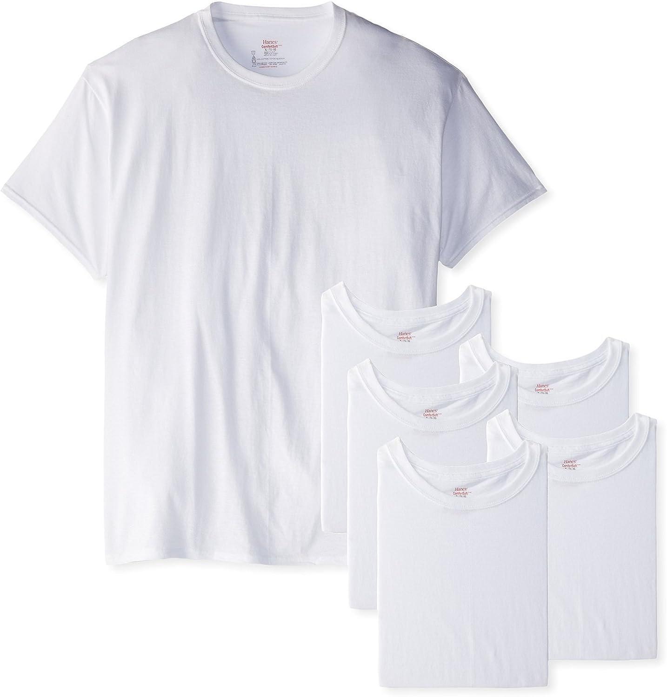 Hanes Men's FreshIQ Crew T-Shirt (Pack of 6) (X-Large Tall, White)