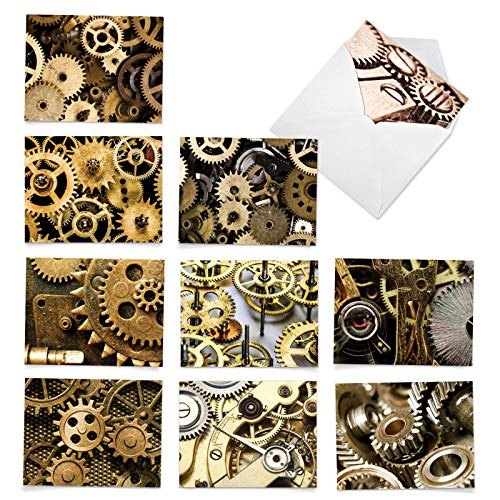 The Best Card Company, Gearing Up - 10 Thank You Cards with Envelopes (4 x 5.12 Inch) - Assorted Boxed Note Cards with Mechanical Gears, Cogs M3014