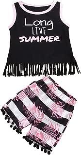 Juego de ropa de borla para niños y niñas, camisetas y pantalones cortos de verano