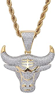 KMASAL Jewelry Men Hip Hop Iced Out Bling CZ Diamond Gengar Vampire Bull Pendant 18K Gold and Silver Plated with 24