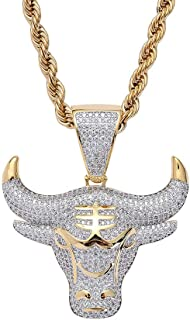Men Hip Hop Iced Out Bling CZ Diamond Gengar Vampire Bull Pendant 18K Gold and Silver Plated with 24