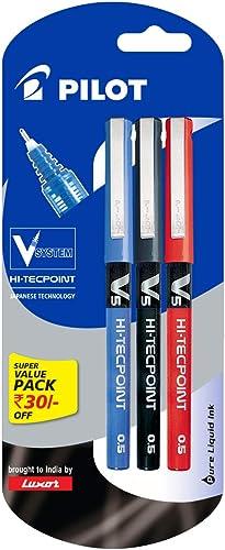 Pilot V5 Liquid Ink Roller Ball Pen - 1Blue + 1Black + 1Red product image