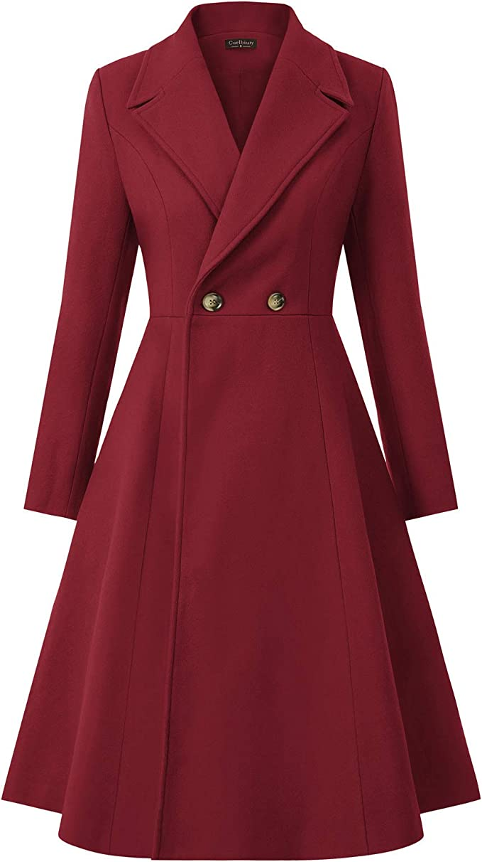 Vintage Coats & Jackets | Retro Coats and Jackets CURLBIUTY Women Swing Double Breasted Wool Pea Coat Winter Long Overcoat Jacket $69.99 AT vintagedancer.com