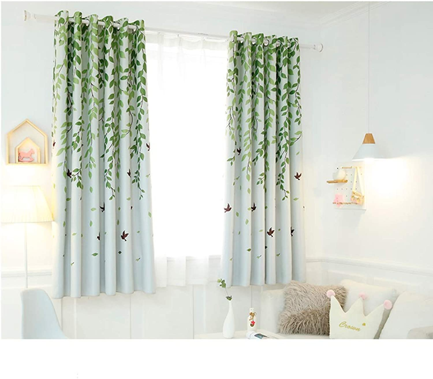 TD X95414 Curtain, Insulation Short Curtain Shading Modern Simple Living Room Bedroom (color   J, Size   2W 2.4M ×L 2 M)