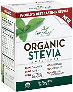 SweetLeaf Organic Stevia Sweetener, 70 Count