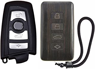 SHIKELANG Keyless Entry Remote Control Refit Rosewood Car Key Fob Shell Replacement for BMW (Circuit Board & Battery Excluded)