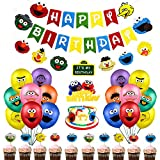 Sesame Birthday Party Supplies, 60Pcs Sesame Theme Party Decorations Includes Birthday Banner, Elmo Friends Garland, Elmo Cookie Monster Cake Cupcake Toppers, 32 Latex Balloons for Kids Boys Girls Birthday Party, Baby Shower Decor