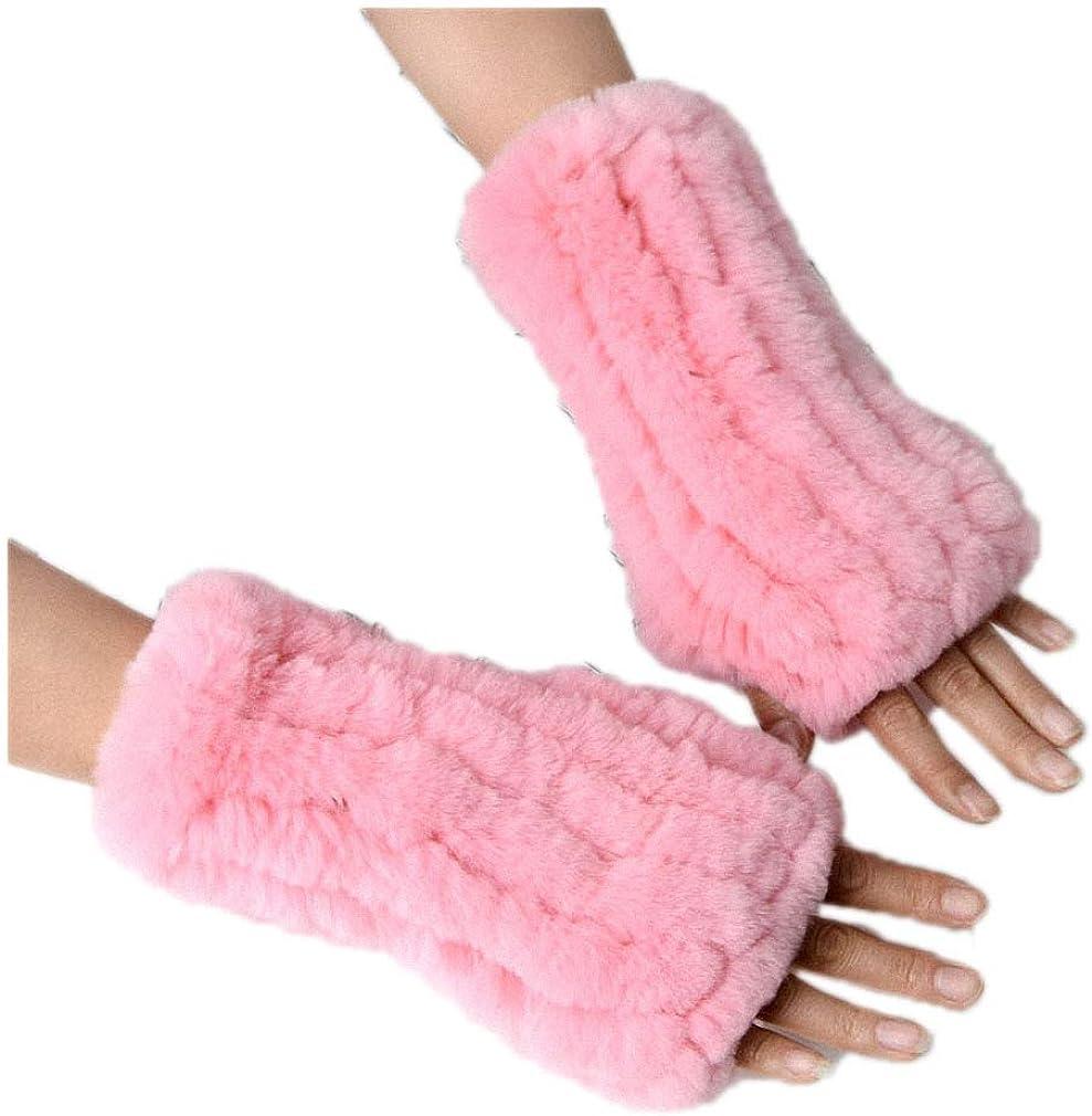 Womens Gloves Women's Knitted Rex Rabbit Fur Winter Fingerless Gloves Mittens Arm Sleeve