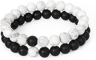 LOLOJ Yin Yang Distance Couple Bracelet 8mm Beads Black Matte Agate & White Howlite