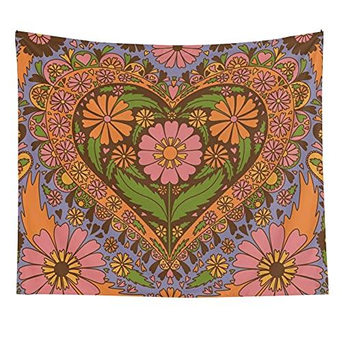 Tapiz de corazón de flor Vintage Retro para colgar en la pared decoración de la pared del hogar Fondo de tela para colgar manta tapiz A1 180x230cm