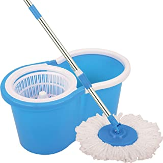 Spin Bucket Mop with 2 Refills- Super Absorbent Refills for All Type of Floors, 360 Degree Spin Bucket, 180 Degree Bendabl...