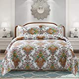 NEWLAKE Cotton Bedspread Quilt Sets-Reversible Patchwork Coverlet Set,...