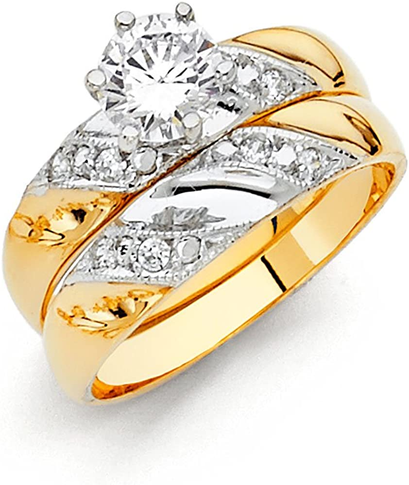 Sonia Jewels 14k White and Yellow Gold Two Tone Round Cubic Zirconia CZ Ladies Anniversary Wedding Band And Engagement Ring