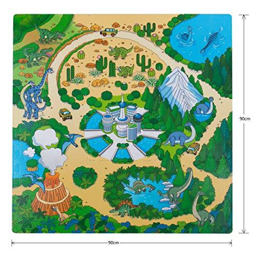 BodenMax CRS-DINO3010-9 Alfombrilla Puzzle Protectora de Espuma para niños y bebés con diseño de Parque jurasico con 9 Piezas de 30x30x1cm