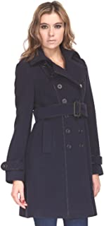 ZAREEN by BC24 Women's Wool Trench Long Coat with Belt