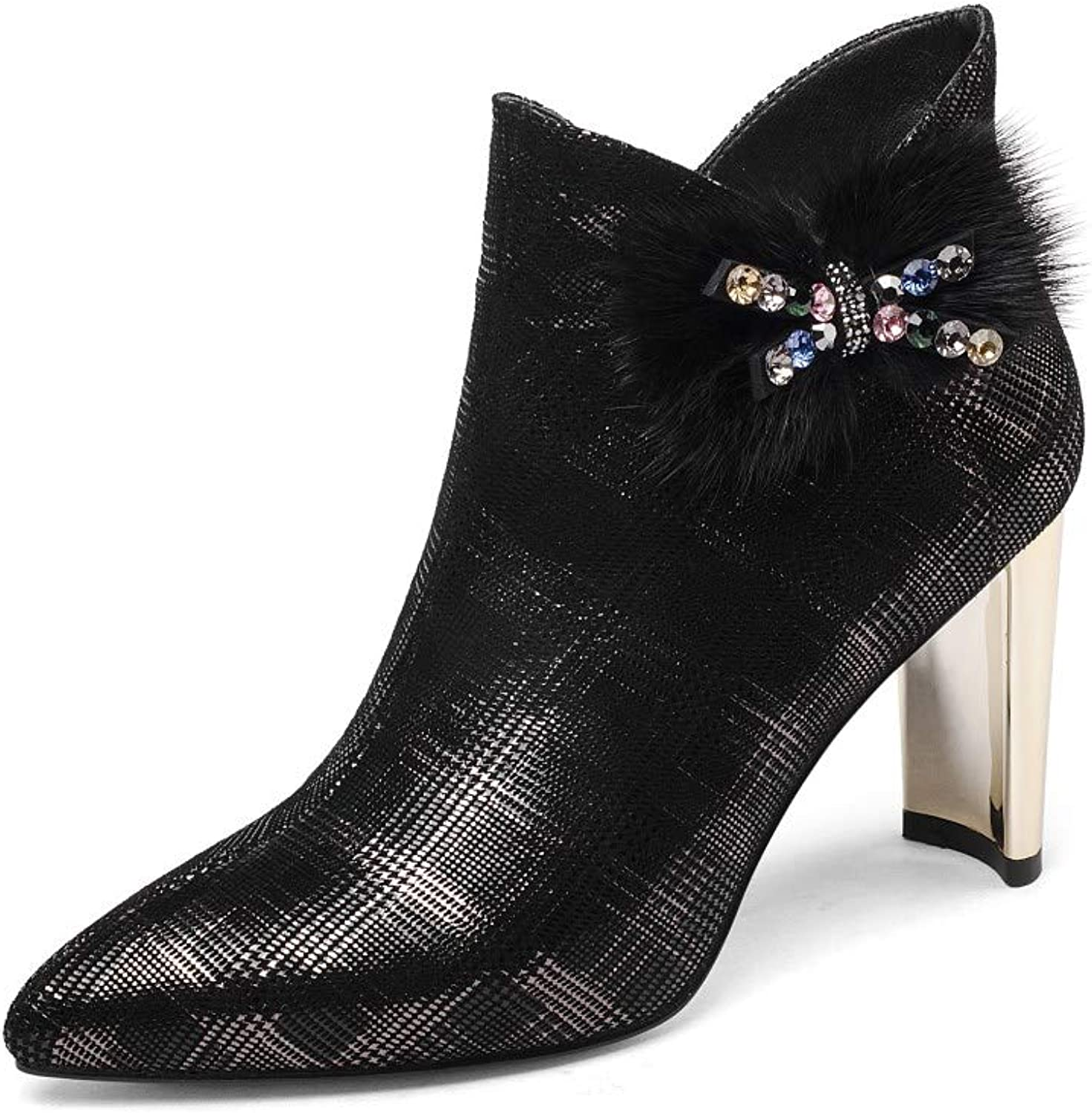 Nine Seven Women's Suede Leather Pointed Toe High Chunky Heel Side Zip Handmade Plaid Graceful Dress Ankle Boots