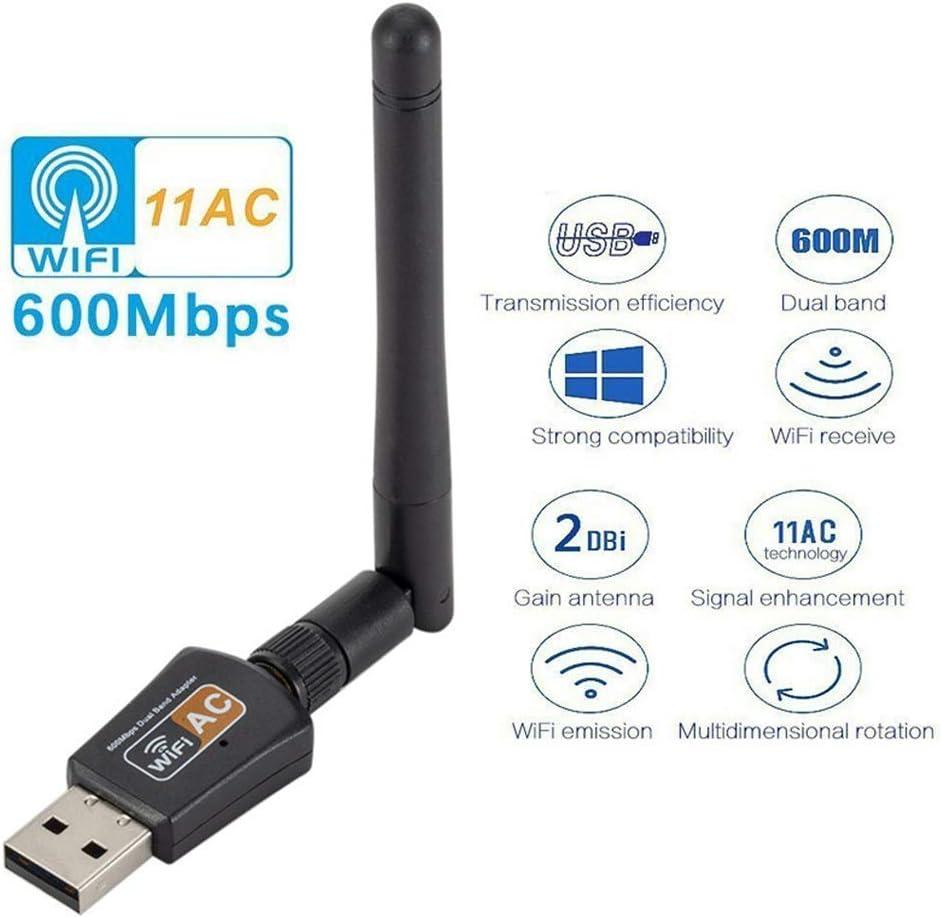Dual Band 600M 2.4//5.8GHz WiFi Receiver USB Network Card Adapter with Antenna hudiemm0B USB Network Card
