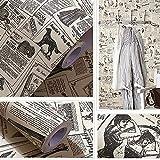 Yizunnu - Carta da parati in vinile, 60 x 300 cm, motivo: giornale vintage