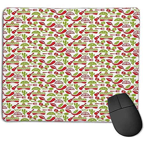 Gaming Mouse Pad Bundle Genähte Kanten Premium Wasserdichte Mauspad-Auflage,Fiesta,Mexican Civilization Elements Hüte Gitarren Essen Musikinstrumente,Vermilion Apfelgrün Weiß,Konsolen Mehr Genießen Si