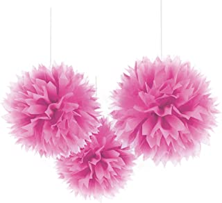 Amscan 18055.102999999999 Party Perfect Round Fluffy Paper Decorations, Bright Pink, 16