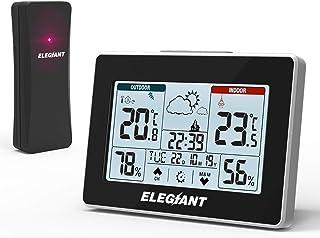 ELEGIANT väderstation med trådlös utegivare, digital termometerhygrometer för inomhus och utomhus med temperatur, fuktighe...