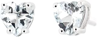 Sterling Silver Heart Shaped Genuine Natural Aquamarine Earrings Stud