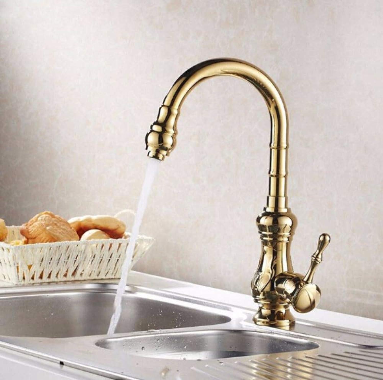 Goldener Küchenhahnbassinhahn eine Hand heier und kalter Waschbeckenwannenhahn