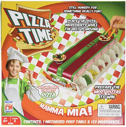 Fotorama Pizza Time Build-A-Pizza Game, Frantic Fun Fast-Paced Conveyor Belt Fast Food Thrill Competition, Develops Fine Motor Skills and Dexterity