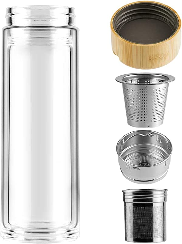 Weetall BPA Free Fruit And Tea Infuser Borosilicate Glass Water Bottle For Loose Leaf Tea Coffee And Fruit Water Double Mesh Filter Tea Tumbler 360ml 13oz With Bamboo Lid