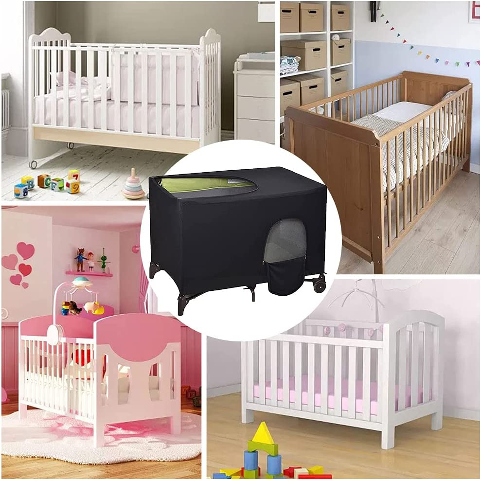Fyrome Crib Tent Cover, Crib Blackout Canopy Pack N Play Breathable Baby Netting Cover Black Sunshade Baby Bed Cover for Portable Sleeping or Play
