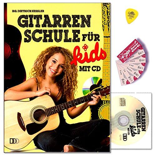 Gitarrenschule für Kids ohne Noten mit CD, Dunlop Plek, Notenchecker Gitarren-Akkorde - Basics, Akkordgriffe, Übungen - 9783941312470