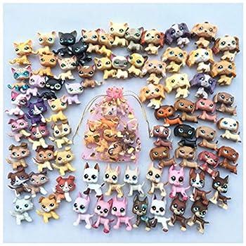 LPSTOY Cat and Dog Random 5 pc LPS Shorthair Cat LPS Cocker Spaniel LPS Great Dane LPS Collie LPS Dachshund Dog Figure Boy Gorl Kids Gift Set