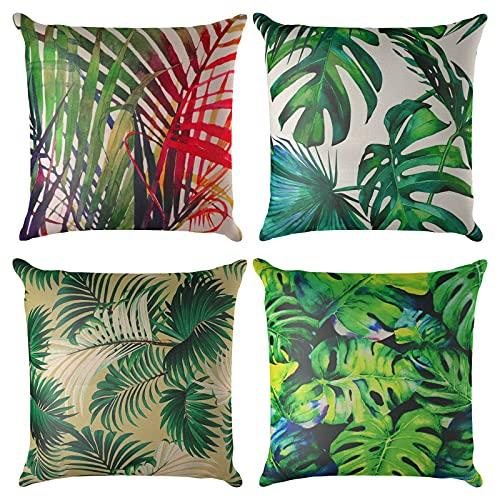 Jodimitty Set di 4 federe decorative per cuscino, 40 x 40 cm, motivo geometrico in cotone e lino, per divano, decorazione della casa, ufficio (foresta pluviale)