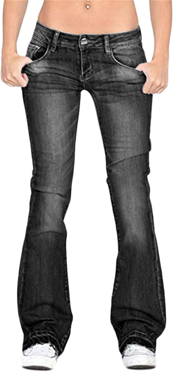 Andongnywell Bell Bottom Jeans Superlatite for Womens Mid Max 63% OFF Fl Classic Waisted