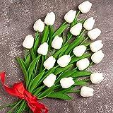 Whaline - Ramo de tulipán artificial de 20 unidades, tacto real, material de látex de imitación para el hogar, jardín, boda, fiesta, decoración floral (blanco)