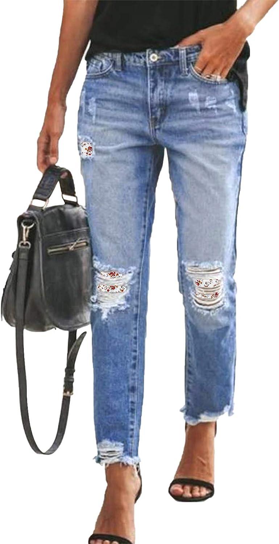 Astylish Womens Plaid Patch Ripped Boyfriend Distressed Stretch Skinny Denim Jeans with Hole